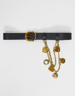 ASOS DESIGN chain and charm detail waist-and-hip belt in black