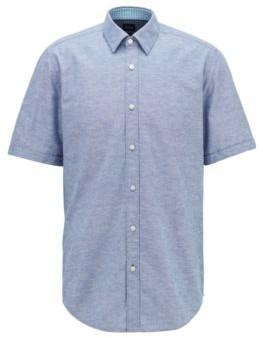 HUGO BOSS Regular Fit Shirt In Cotton And Linen - Dark Blue