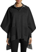 Neiman Marcus Double-Faced Hooded Cashmere Cape, Charcoal