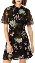 Warehouse Molly Floral Print Dress, Black/Multi