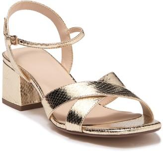 Halston Snakeskin Embossed Metallic Ankle Strap Sandal
