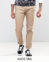 Asos Tall Straight Chinos In Stone