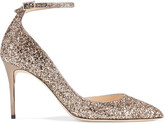 Jimmy Choo Lucy 85 Glittered Leather Pumps - Gold