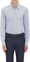 Brioni Men's Dot Jacquard Shirt-Blue