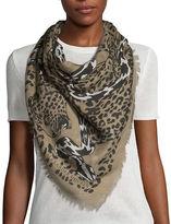Alexander McQueen Square Leopard & Snake Silk-Blend Scarf