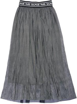 Balmain Pleated Stretch Tulle Long Skirt