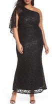 Marina Plus Size Women's Sequin Lace One-Shoulder Gown