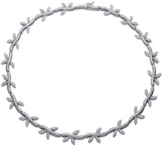 Genevive Silver Cz Leaf Necklace