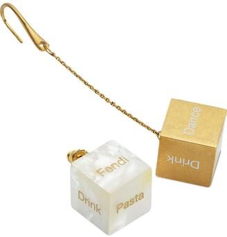Fendi Dice Cube And Pendant Earrings