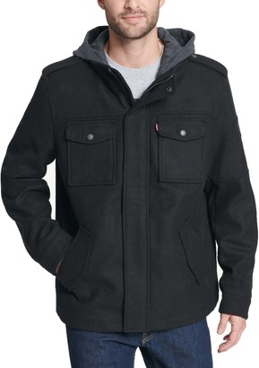 Levi's Men's Wool-Blend Four-Pocket Hooded Military Jacket