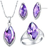 Babao Jewelry Jewelry Sets Babao Jewelry Purple Leaves 18K Platinum Plated Cubic Zirconia Crystals Pendant Necklace Earrings Set with 925 Sterling Silver Necklace Ring Size 7