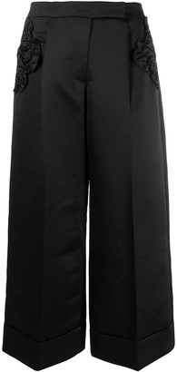 Simone Rocha Ruffled Patch Wide-Legged Cropped Trousers