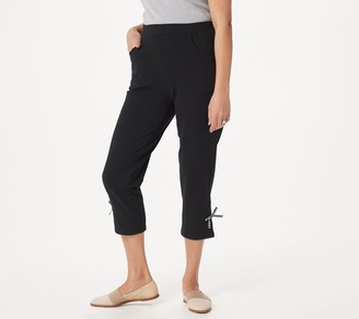 Factory Quacker French Terry Crop Pants with Gingham Bow Detail