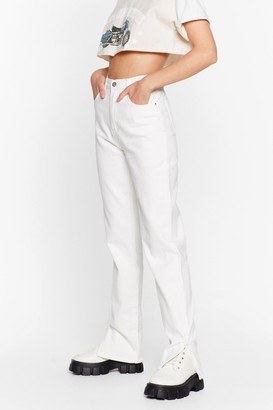 Nasty Gal Womens Slit the Lights High-Waisted Relaxed Jeans - White - S