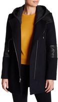Andrew Marc Genuine Leather Trim Wool Blend Corey Coat