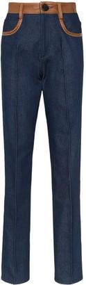 Wales Bonner Leather-Trimmed Jeans