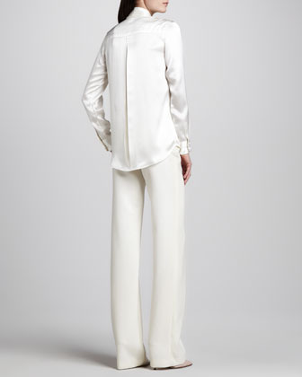 ADAM by Adam Lippes Charmeuse Tie-Front Blouse