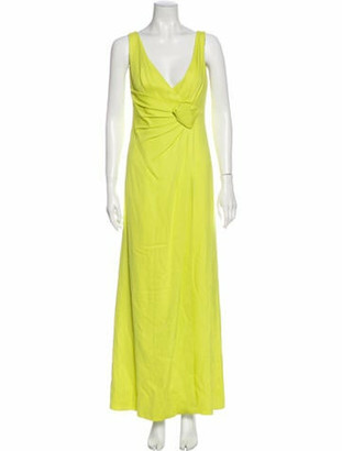 Valentino V-Neck Long Dress Green