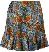 Chloé Ruffled Printed Jersey Mini Skirt - Green