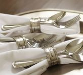 Pottery Barn Antique Silver Sentiment Napkin Ring, Set of 4