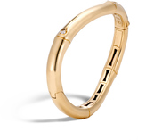 John Hardy Bamboo 9MM Curved Hinged Bangle in 18K Gold with Diamonds