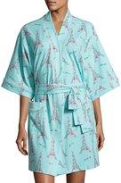 BedHead French Bow Short Kimono Robe, Light Blue