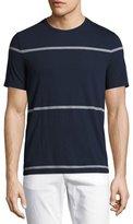 Michael Kors Striped Merino Crewneck T-Shirt, Navy