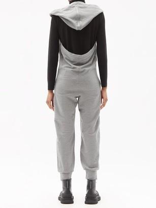 Norma Kamali Open-back Hooded Cotton-blend Jersey Jumpsuit - Light Grey