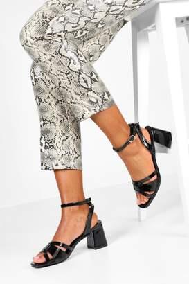 boohoo Wide Fit Woven Front Block Heels