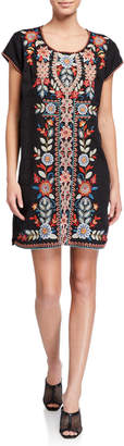 Johnny Was Plus Size Maisie Embroidered Peasant Tunic Dress