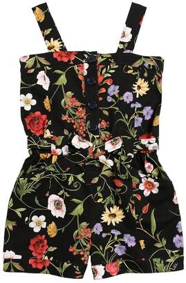 Oscar de la Renta Flower Print Cotton Ottoman Jumpsuit
