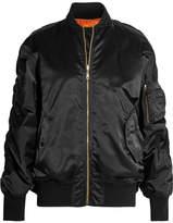 Balenciaga Oversized Jersey-trimmed Satin Bomber Jacket