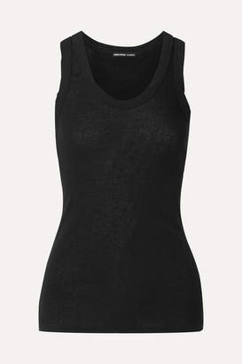 James Perse Ribbed Cotton And Cashmere-blend Tank - Black