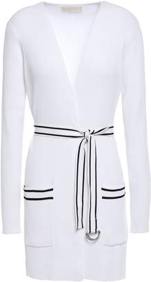 MICHAEL Michael Kors Belted Two-tone Ribbed-knit Cardigan