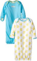 Gerber Unisex-Baby Newborn 2 Pack Neutral s Lap Shoulder Gown, Blue, 0-6 Months