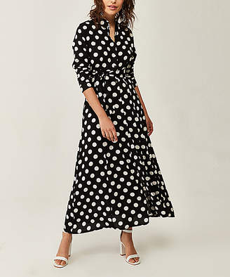 Simmly Women's Casual Dresses Black - Black Polka Dot Front-Slit Maxi Dress - Women