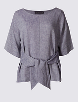 M&S Collection Linen Rich Tie Front Half Sleeve Shell Top