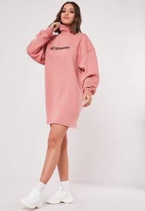 Missguided Dusky Pink High Neck Embroidered Sweater Dress