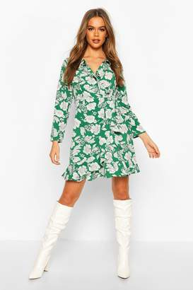 boohoo Floral Print Ruffle 3/4 Sleeve Tea Dress