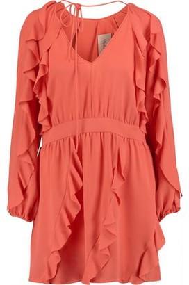 Valentino Ruffled Silk-crepe Mini Dress