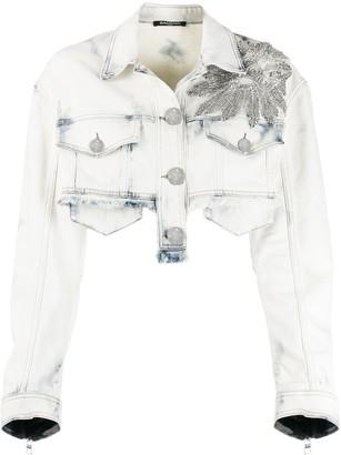 Balmain Crystal-Embellished Cropped Denim Jacket