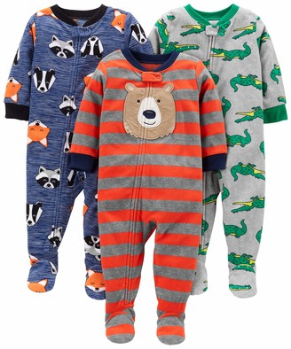 Carter's Simple Joys by 3-pack Loose Fit Flame Resistant Fleece Footed Pajamas Sleepers