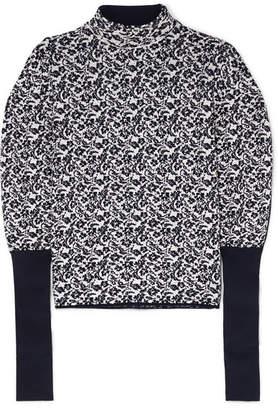 Chloé Floral-jacquard Sweater - Navy