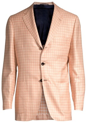 Kiton Gingham Single-Breasted Wool, Silk & Linen Blazer