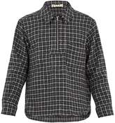 Marni Point-collar half-zip checked wool top