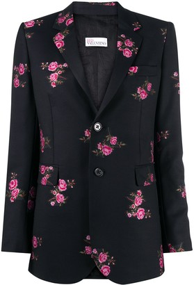 RED Valentino Floral Print Single-Breasted Blazer