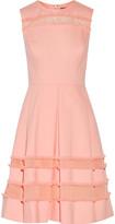 Lela Rose Organza-Paneled Fringed Cotton-Blend Twill Dress
