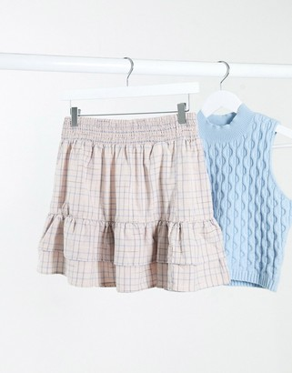 Stradivarius skirt with frills in pink check