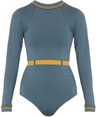 Qua Vino Long Sleeves One Piece Swimwear - Sunday Tomorrow Blue Grey