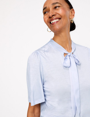 Marks and Spencer Tie Neck Short Sleeve Blouse